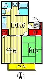 メゾン松本D棟[205号室]の間取り