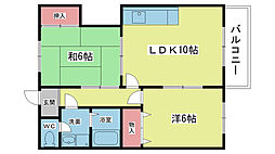 大阪府豊中市庄内東町3丁目の賃貸アパートの間取り