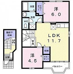 東京都町田市成瀬6丁目の賃貸アパートの間取り