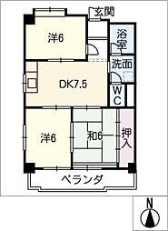 メイゾンサンポア A棟[3階]の間取り