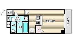 パークフロント福島 2階ワンルームの間取り