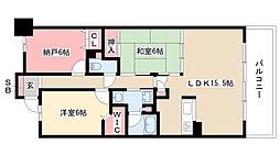 愛知県名古屋市熱田区沢上1丁目の賃貸マンションの間取り