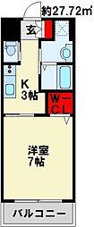 JR鹿児島本線 九州工大前駅 徒歩25分の賃貸マンション 4階1Kの間取り