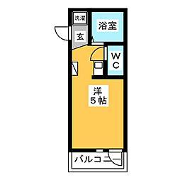 BACE菅馬場 2階ワンルームの間取り