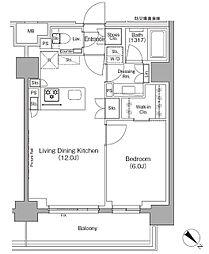 東京メトロ有楽町線 月島駅 徒歩1分の賃貸マンション 5階1LDKの間取り