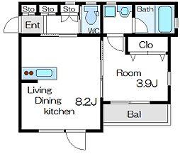 東京メトロ東西線 葛西駅 徒歩6分の賃貸アパート 2階1LDKの間取り