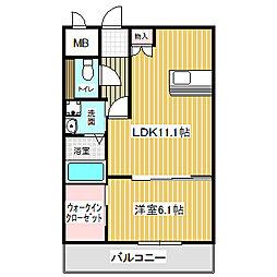 愛知県名古屋市中川区若山町4の賃貸マンションの間取り