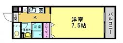 ソフィア21新在家 1階1Kの間取り