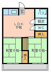 アリエス井堀[502号室]の間取り