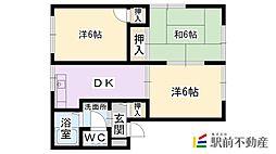 サンハイツAKIYAMA B棟[B201号室]の間取り