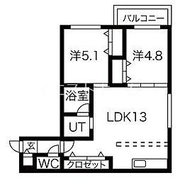 Next Ave.TEINE(ネクストアベニューテイネ) 4階2LDKの間取り