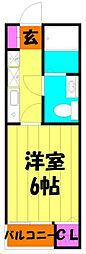埼玉県越谷市千間台東1丁目の賃貸アパートの間取り