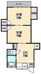 第2越路コーポ[1-B号室]の間取り
