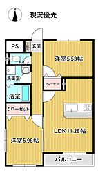 J-003 1階2LDKの間取り