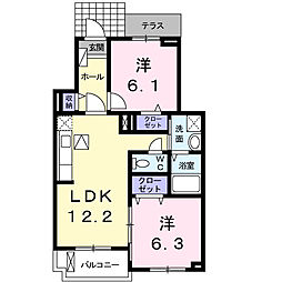 プリムローズK・III[1階]の間取り