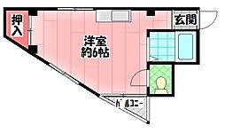 プリンスマンションリバーサイド 2階ワンルームの間取り