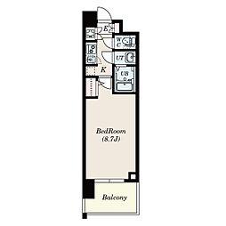名古屋市営東山線 本郷駅 徒歩8分の賃貸マンション 4階1Kの間取り