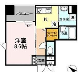 西鉄天神大牟田線 薬院駅 徒歩6分の賃貸マンション 4階1Kの間取り
