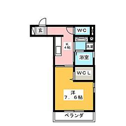 Alluge岐阜(アリュージュ) 1階1Kの間取り