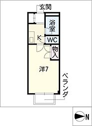 STUDIO岩田寮 H棟 3階1Kの間取り