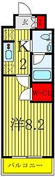 JR埼京線 浮間舟渡駅 徒歩9分の賃貸マンション 5階1Kの間取り
