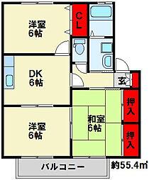 セジュールKA棟[2階]の間取り