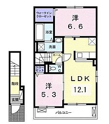 JR福塩線 高木駅 徒歩10分の賃貸アパート 2階2LDKの間取り