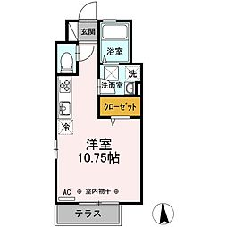JR中央本線 国分寺駅 バス10分 藤塚下車 徒歩3分の賃貸アパート 1階ワンルームの間取り