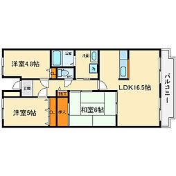 大阪府箕面市粟生外院2丁目の賃貸マンションの間取り