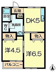 津田マンション[1階]の間取り