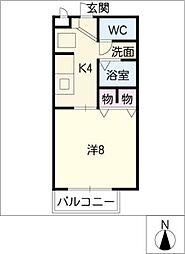 フラット矢戸川A・B棟[1階]の間取り