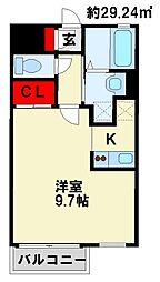 JR日豊本線 南小倉駅 徒歩22分の賃貸マンション 2階1Kの間取り