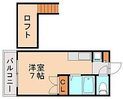福岡県福岡市城南区西片江2丁目の賃貸マンションの間取り