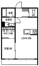 JR常磐線 牛久駅 徒歩6分の賃貸アパート 1階1LDKの間取り