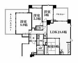 ステイツグラン夙川[4階]の間取り