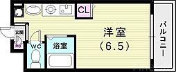 神戸市西神・山手線 板宿駅 徒歩5分の賃貸マンション 2階ワンルームの間取り
