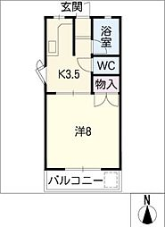 MITA HOUSE II 2階1Kの間取り