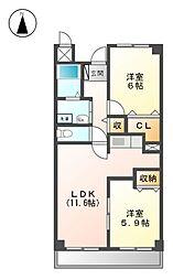 愛知県名古屋市北区三軒町の賃貸マンションの間取り