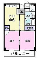 第2タツミマンション 2階2DKの間取り
