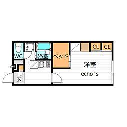レオパレスユニコム弐番館(40060)[1階]の間取り