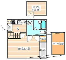 ベネフィスタウン箱崎東2[1階]の間取り