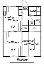メゾンドール稲毛[2階]の間取り