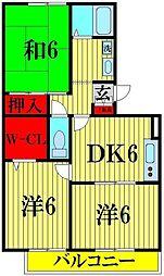 埼玉県川口市戸塚3丁目の賃貸アパートの間取り
