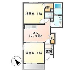 岡山県倉敷市児島小川6の賃貸アパートの間取り