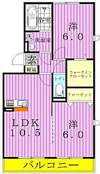 埼玉県三郷市彦江1丁目の賃貸アパートの間取り