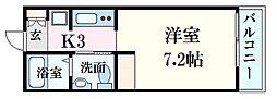 広島電鉄6系統 江波駅 徒歩16分の賃貸アパート 1階1Kの間取り