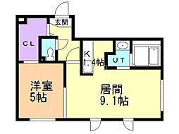 コートヴィラ札幌 2階1LDKの間取り