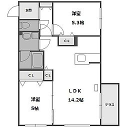 北海道札幌市中央区北十五条西15丁目の賃貸マンションの間取り