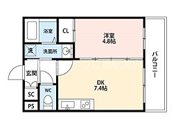 JR東海道・山陽本線 吹田駅 徒歩7分の賃貸マンション 1階1DKの間取り