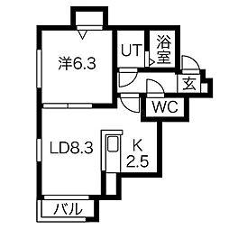R−FREE南5条西12(アールフリー南5西12)[4階]の間取り